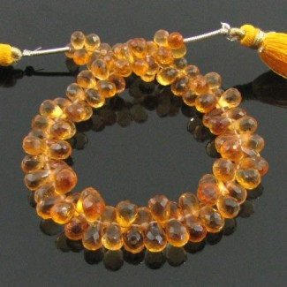 Citrine 6-7mm Drops Shape Briolette Strand