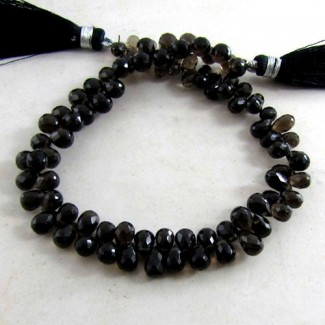 Smoky Quartz 6-7mm Drops Shape Briolette Strand