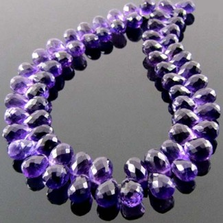 African Amethyst 8-9mm Drops Shape Briolette Strand