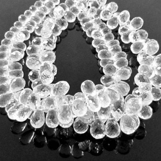 Crystal Quartz 8-9mm Drops Shape Briolette Strand