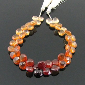 Hessonite Garnet 8-9mm Heart Shape Briolette Strand