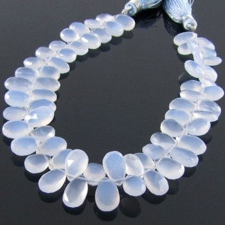 Natural Blue Chalcedony 10-12mm Pear Shape Briolette Strand