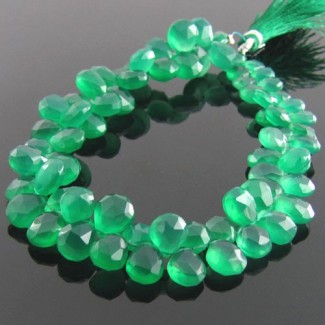 Green Onyx 8-9mm Pear Shape Briolette Strand