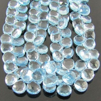Sky-Blue Topaz 8-9mm Heart Shape Briolette Strand