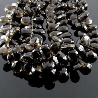 Smoky Quartz 10-12mm Pear Shape Briolette Strand