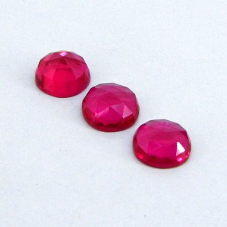 31.75 Cts. Lab Ruby 13mm Round Shape Cabochon Parcel (3 Pcs.)
