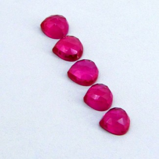 21.90 Cts. Lab Ruby 9-10mm Heart Shape Cabochon Parcel (5 Pcs.)