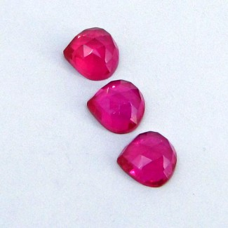 18.85 Cts. Lab Ruby 11mm Heart Shape Cabochon Parcel (3 Pcs.)