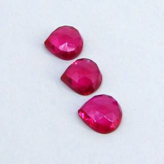 26.25 Cts. Lab Ruby 13mm Heart Shape Cabochon Parcel (3 Pcs.)