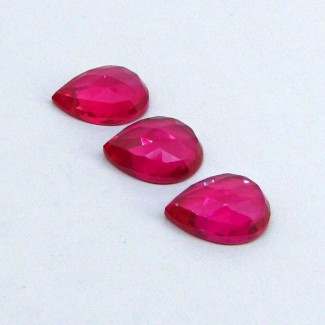 32.60 Cts. Lab Ruby 16x12mm Pear Shape Cabochon Parcel (3 Pcs.)