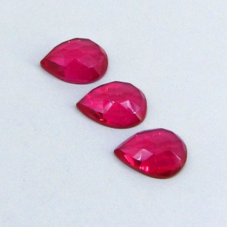 42.75 Cts. Lab Ruby 18x13mm Pear Shape Cabochon Parcel (3 Pcs.)