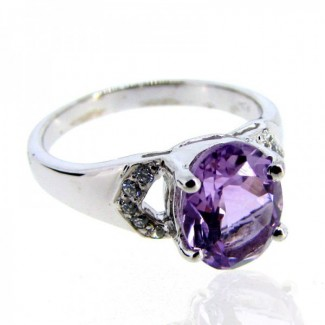 Brazilian Amethyst and Diamond White CZ 925 Sterling Silver Ring