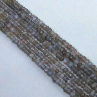 Grey Moonstone 3-3.5mm Hand Cut Rondelle Shape Beads Strand