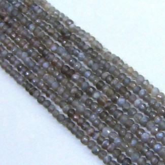 Grey Moonstone 4-4.5mm Hand Cut Rondelle Shape Beads Strand