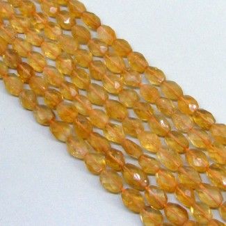 Citrine 8-10mm Faceted Oval Shape Beads Strand