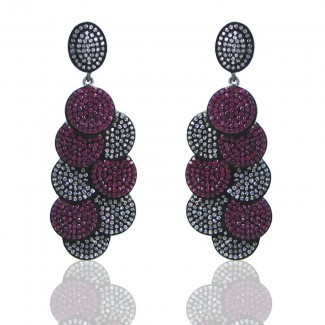 Lab Ruby and Diamond White CZ 925 Sterling Silver Earrings