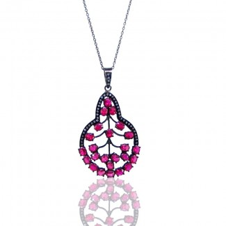 Lab Ruby and Diamond White CZ 925 Sterling Silver Pendants