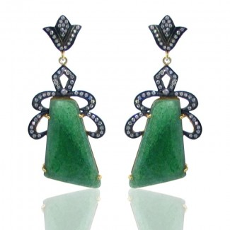 Green Quartz and Diamond White CZ 925 Sterling Silver Earrings