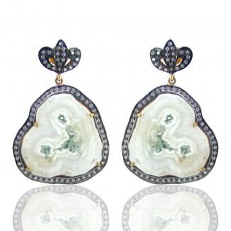 Solar Quartz and Diamond White CZ 925 Sterling Silver Earrings
