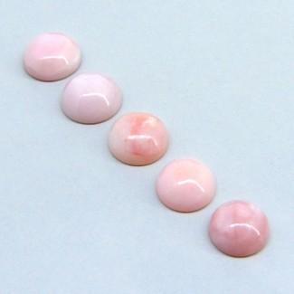 39.25 Cts. Pink Opal 13-15mm Round Shape Cabochon Parcel (5 Pcs.)
