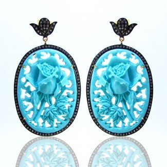 Turquoise and Diamond White CZ 925 Silver Earrings