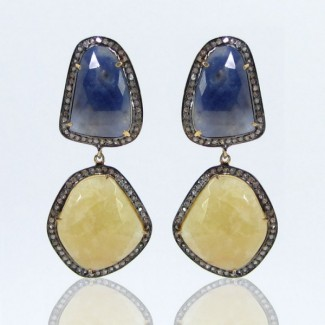Multi Sapphire and Diamond 925 Sterling Silver Earrings