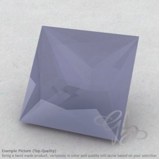 Natural Blue Chalcedony Square Shape Calibrated Gemstones