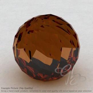 Cognac Quartz Round Shape Calibrated Beads