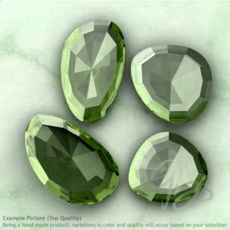 Green Amethyst Irregular Shape Rose-Cut Gemstones