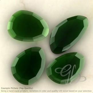 Hydro Chrome Diopside Quartz Irregular Shape Rose-Cut Gemstones