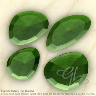 Hydro Green Tourmaline Quartz Irregular Shape Rose-Cut Gemstones