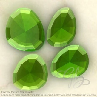 Hydro Peridot Quartz Irregular Shape Rose-Cut Gemstones