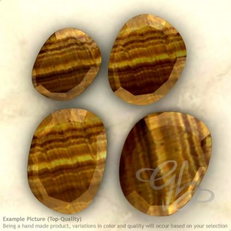 Tiger Eye Irregular Shape Rose-Cut Gemstones
