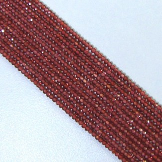 Garnet 2-2.5mm Micro Faceted Rondelle Shape Beads Strand