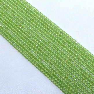 Peridot 2-2.5mm Micro Faceted Rondelle Shape Beads Strand