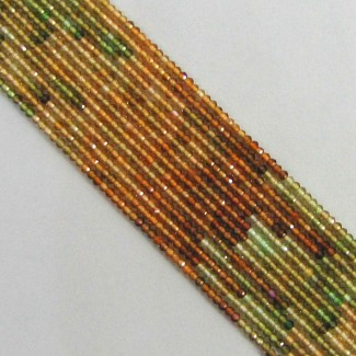 Petro Green Tourmaline 2mm Micro Faceted Rondelle Shape Beads Strand