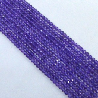 African Amethyst 4-4.5mm Micro Faceted Rondelle Shape Beads Strand