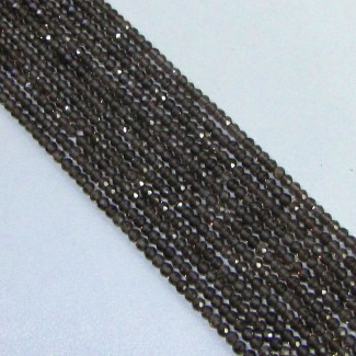 Smoky Quartz 2-2.5mm Micro Faceted Rondelle Shape Beads Strand