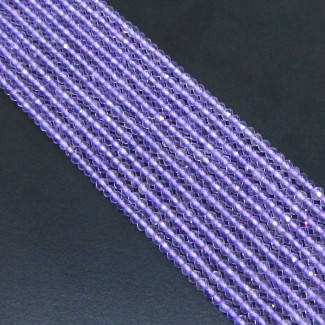Pink Amethyst 2-2.5mm Micro Faceted Rondelle Shape Beads Strand