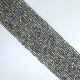Labradorite 2-2.5mm Micro Faceted Rondelle Shape Beads Strand