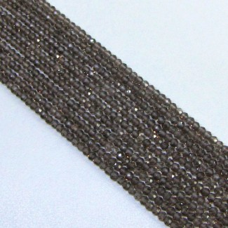 Smoky Quartz 3-3.5mm Micro Faceted Rondelle Shape Beads Strand