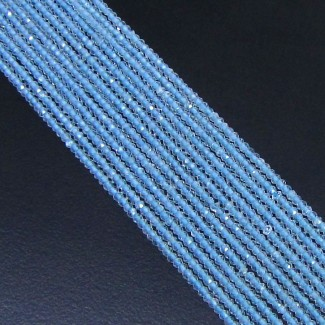 Sky Blue Topaz 3-3.5mm Micro Faceted Rondelle Shape Beads Strand
