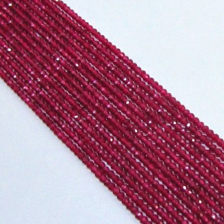 Dyed Ruby (Ropada) 3-3.5mm Micro Faceted Rondelle Shape Beads Strand