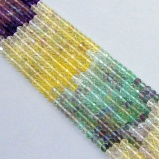 Multi Fluorite 4-4.5mm Micro Faceted Rondelle Shape Beads Strand
