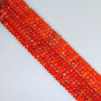 Carnelian 4-4.5mm Hand Cut Rondelle Shape Beads Strand