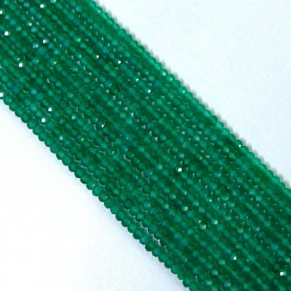 Green Onyx 4-4.5mm Micro Faceted Rondelle Shape Beads Strand