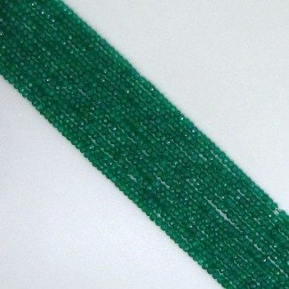 Green Onyx 4-4.5mm Faceted Rondelle Shape Beads Strand
