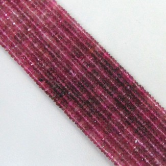 Pink Tourmaline 3-3.5mm Faceted Rondelle Shape Beads Strand