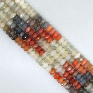 Multi Moonstone 5-5.5mm Smooth Rondelle Shape Beads Strand