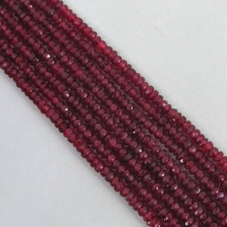 Red Spinel 3-3.5mm Faceted Rondelle Shape Beads Strand